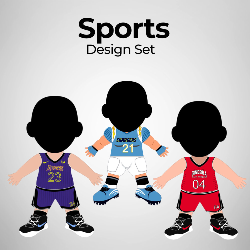Sports - Human Doll Pillows - Design Set