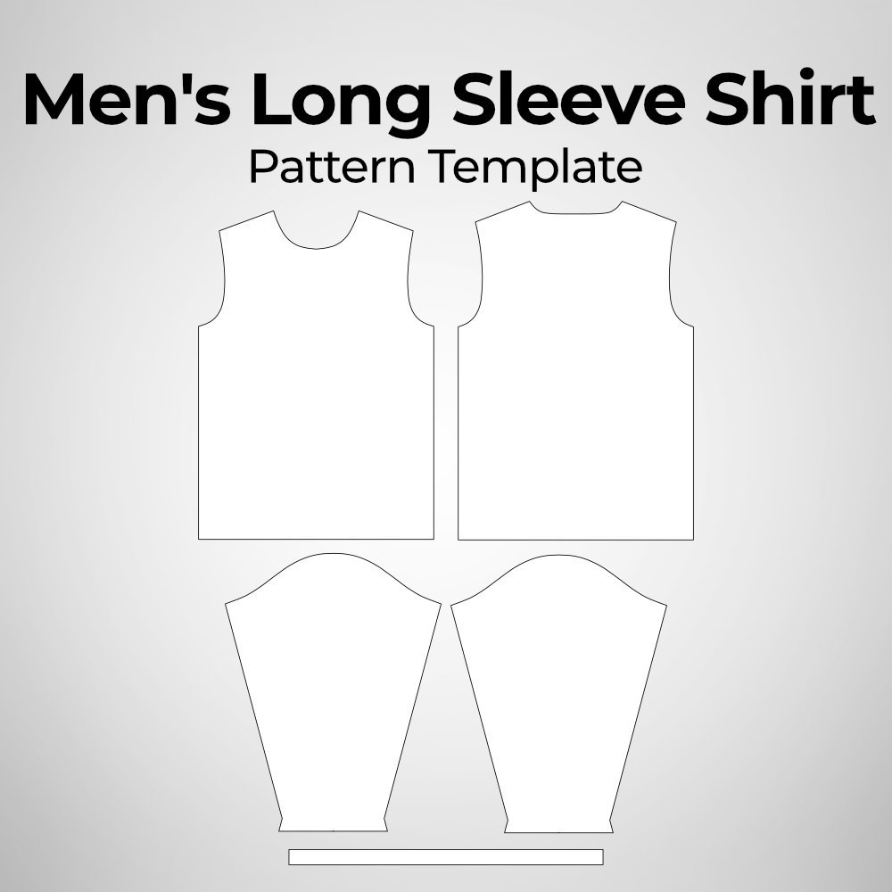 Men's Long Sleeve Shirt Pattern Template Photoshop Mockup