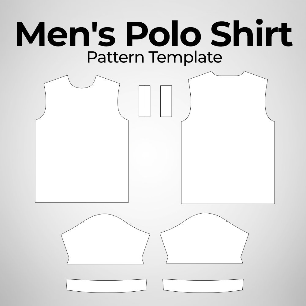 Men's Polo Shirt Pattern Template Photoshop Mockup