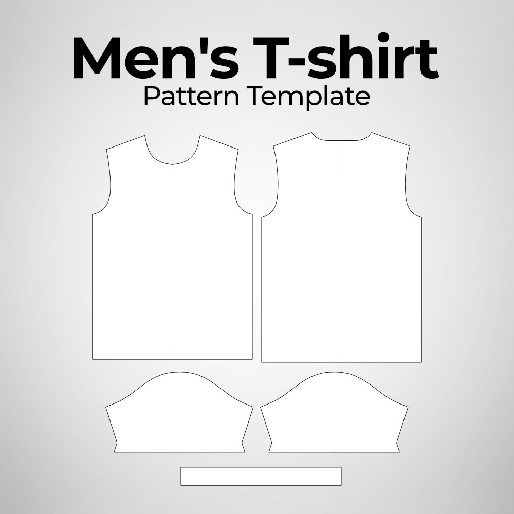 Men's T-shirt Pattern Template Photoshop Mockup