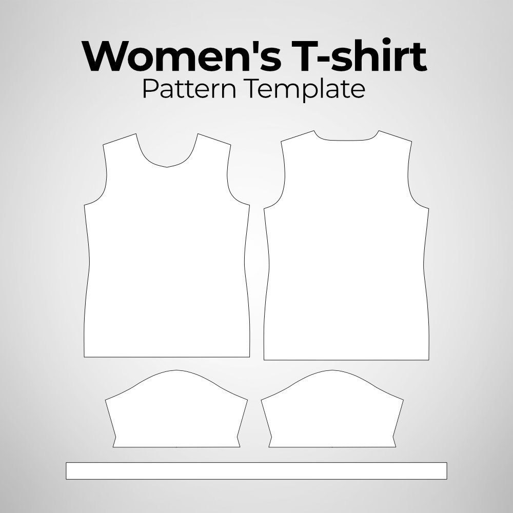 Women's T-shirt Pattern Template Photoshop Mockup